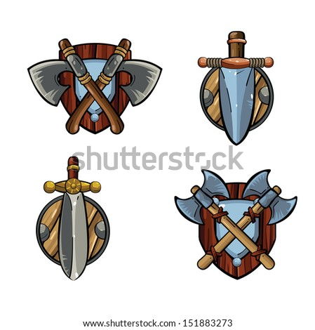 Game icons. Viking's emblem. Cartoon weapons. Medieval weapons - stock vector