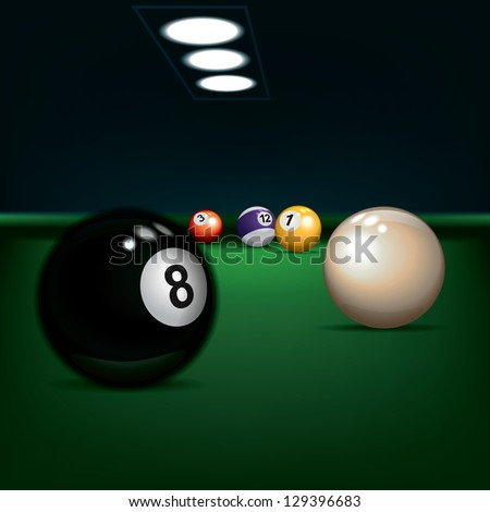 game illustration with billiard balls on green - stock vector