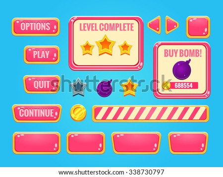 Game interface (buttons, progress bar, resource icon and fields for game) - stock vector