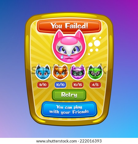 Game interface elements. Failed screen with cartoon characters and buttons. Vector eps 10. - stock vector