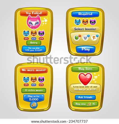 Game interface elements. Vector eps 10. - stock vector