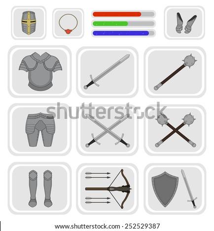 Game inventory. Knight warrior armor set. Helmet, necklace, health, mana, power bars, sword, breastplate, gloves, leggings, boots, mace, crossbow, shield. Vector illustration - stock vector
