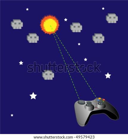 Game joypad vs ufo vector background. - stock vector
