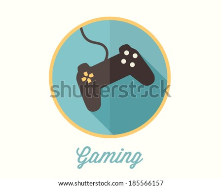 Game, joystick icon, flat style - stock vector