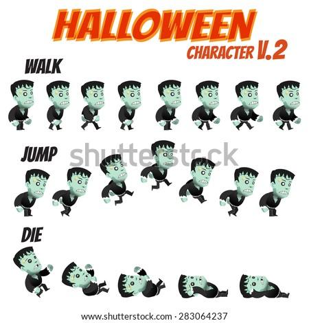 Game Kits Adventure Design Halloween day Part 2 (Character Sprite 2 Zombie) - stock vector