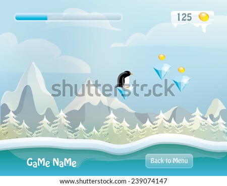game level vector illustration- snowy background landscape with forest, mountains, clouds, game items and penguin character- computer and mobile design - stock vector