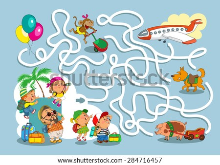 Game-maze for children. Funny cartoon. Vector illustration. - stock vector