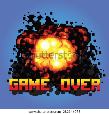 game over boom message pixel art vector illustration - stock vector