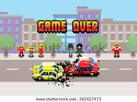 Game Over - damaged cars after collision in the city, pixel art layers illustration - stock vector