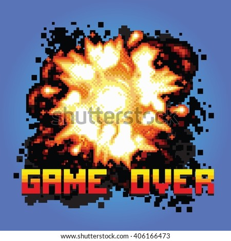 game over pixel art explosion game illustration - stock vector