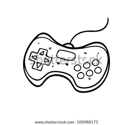 game pad doodle - stock vector