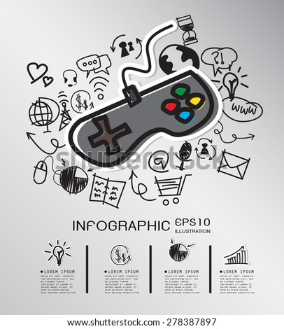 Game pad hand drawn concept with icons background. vector - stock vector