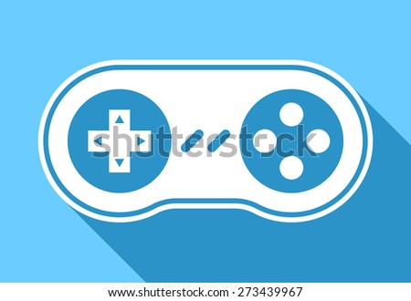 Game pad icon or controller for video games and gaming with shadow on a blue background, vector illustration - stock vector