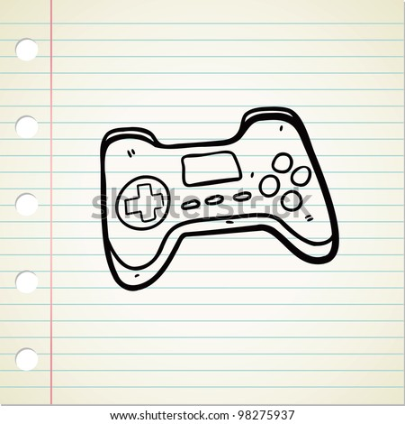game pad in doodle style - stock vector