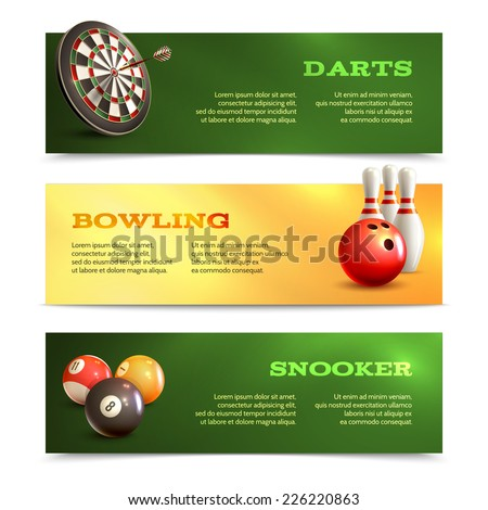 Game realistic horizontal banner set with bowling snooker darts isolated vector illustration - stock vector