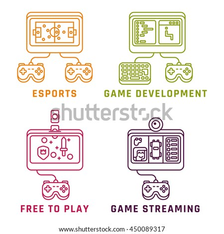 Game related concepts, line style. Part 2. Vector illustration. - stock vector