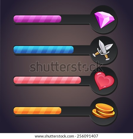 game resource bar - stock vector