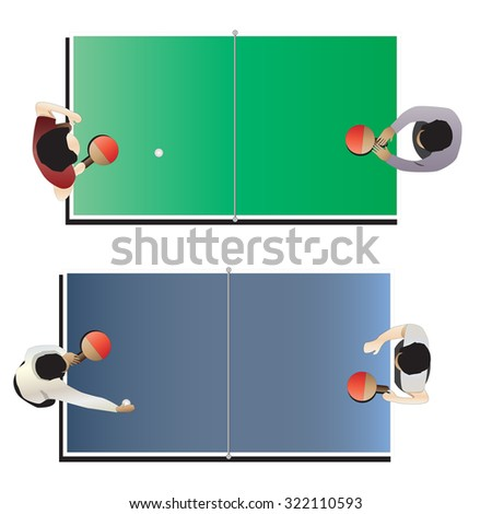 Game room , Table tennis top view for interior, vector illustration - stock vector