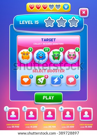 Game UI. Level screen. Creative concept vector interface game design. Cute tiny monsters.  - stock vector