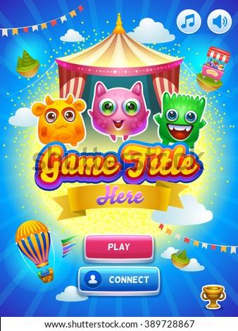 Game UI. Main screen. Creative concept vector interface game design. Cute tiny monsters.  - stock vector