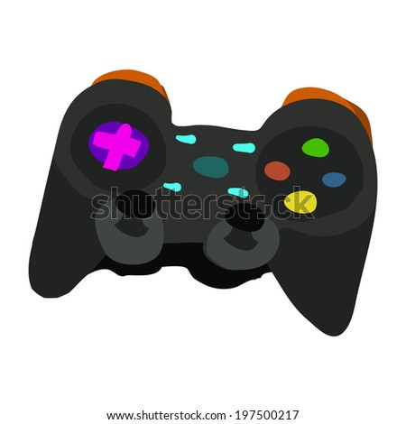 Gamepad icon. Vector isometric hand drawn illustration of tiny cute dark game pad. For ui, games, and patterns. - stock vector