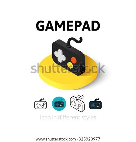 Gamepad icon, vector symbol in flat, outline and isometric style - stock vector