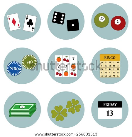 Games based on luck icon set vector  - stock vector