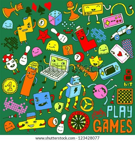 Games doodle set. - stock vector