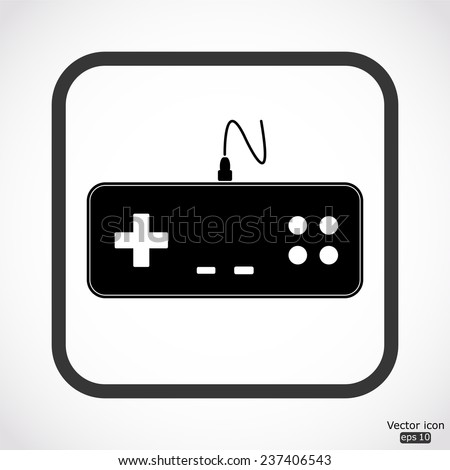 gaming joystick icon - black vector illustration - stock vector