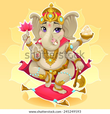 Ganesh. Funny representation of eastern god, vector cartoon illustration. - stock vector