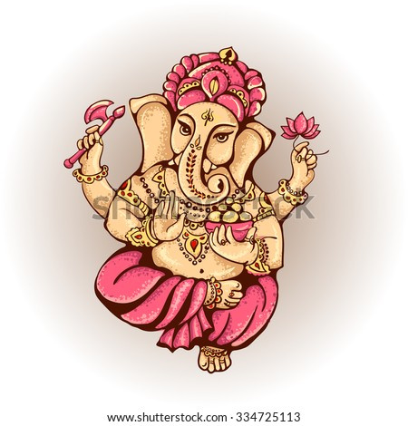 Ganesh. Vector isolated image of Hindu lord. Ganesh Puja. Ganesh Chaturthi. It is used for decal, postcards, prints, textiles, tattoo. - stock vector