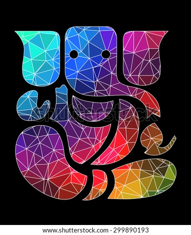 Ganesha - Colorful Polygon Art - stock vector