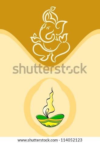 Ganesha Diwali Design - stock vector