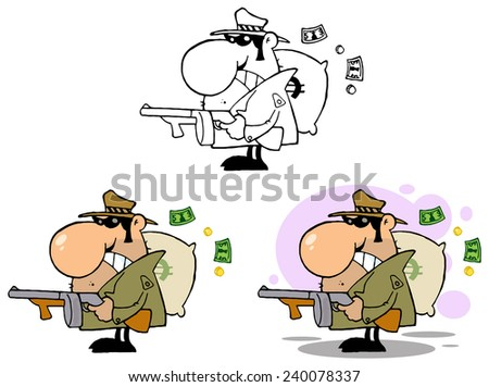 Gangster Holding A Machine Gun And Money Sack. Vector Collection Set - stock vector