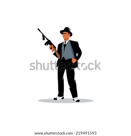 Gangster with a gun Branding Identity Corporate vector logo design template Isolated on a white background - stock vector