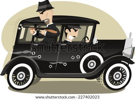 Gangsters Mob Gunman, vector illustration cartoon. - stock vector