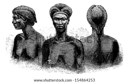 Ganguela Women from the Edges of the Kavango River in Angola in Southern Africa, engraving based on the English edition, vintage illustration. Le Tour du Monde, Travel Journal, 1881 - stock vector