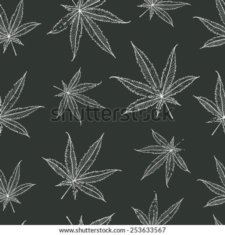Ganja Leaves Seamless Pattern. Vector Illustration. - stock vector