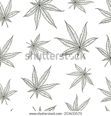 Ganja Leaves Seamless Pattern. Vector Illustration. - stock vector