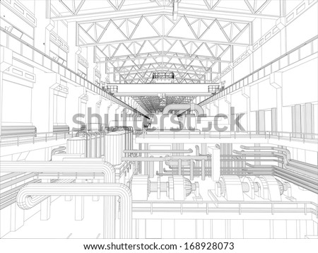 Gantry crane in a factory environment. Wire-frame. Vector EPS10 format. Vector rendering of 3d - stock vector
