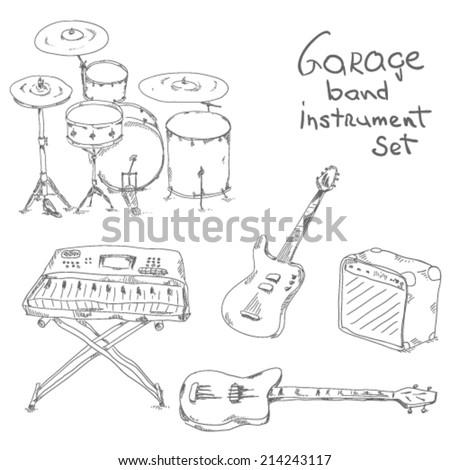 Garage band sketch instrument set - stock vector