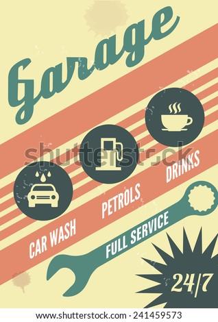 Garage. Car service. Retro poster - stock vector