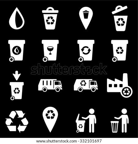 Garbage and recycle icons - stock vector