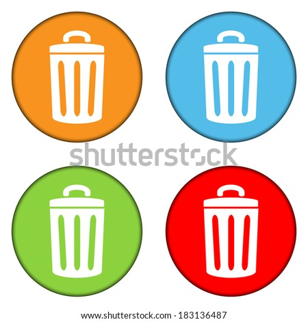 Garbage buttons set on white background. - stock vector
