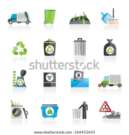 Garbage, cleaning and rubbish icons - vector icon set - stock vector