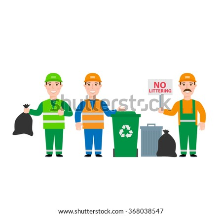 garbage collection.garbage men in uniform set waste bag waste basket garbage can bin isolated on white background - stock vector