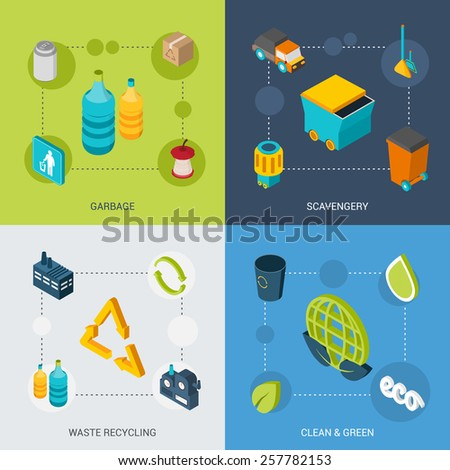Garbage design concept set with scavengery clean and green waste recycling isometric icons isolated vector illustration - stock vector