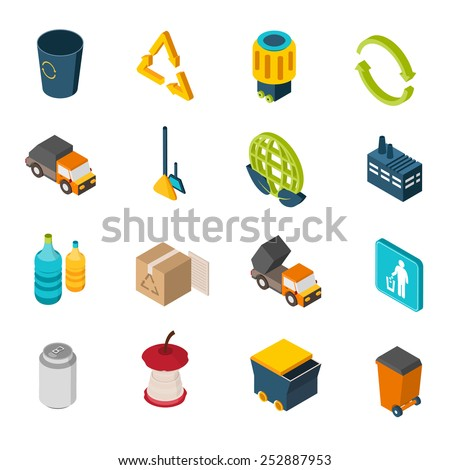 Garbage isometric icons set with trash can recycling symbol and truck isolated vector illustration - stock vector