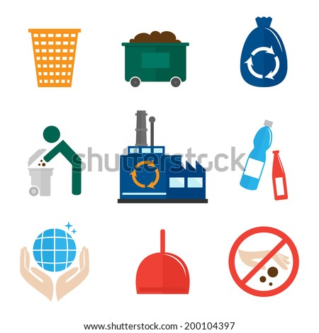 Garbage recycling icons flat set of waste bin dumpster hygienic bag isolated vector illustration. - stock vector