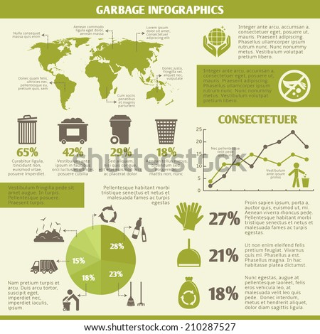 Garbage recycling infographic elements set with icons and charts vector illustration - stock vector